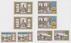 2 x 25 & 2 x 100 Pfennig Banknoten Stadt Krempe Dezember 1920 (132757)