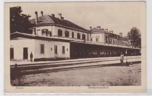 93587 AK Nisch (Niš) Serbien - Hauptbahnhof davor Soldat 1. Weltkrieg