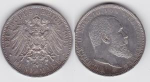 5 Mark Silber Münze Württemberg König Wilhelm II 1913 (118520)