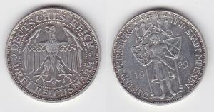 Silber Münze 3 Mark 1000 Jahre Stadt Meißen 1929 E (119647)