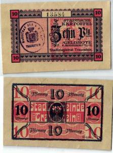 10 Pfennig städtische Kartoffel Geldnote Stadtmagistrat Traunstein (121992)
