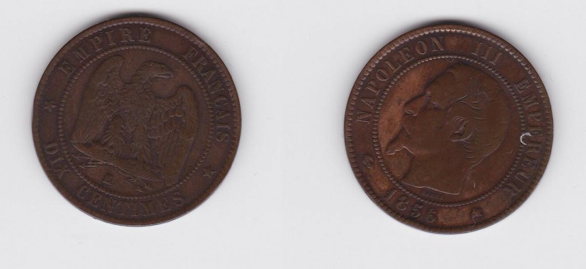 10 Centimes Kupfer Münze Frankreich Napoleon III  1856 K (127322)
