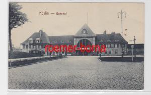 84200 Ak Köslin Koszalin in Polen Bahnhof um 1915