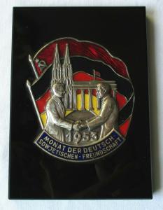 Plakette Deutsch-Sowjetische Freundschaft Monat der DSF 1953 (126427)