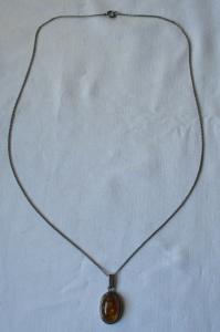925er Silber Kette mit Fischland Anhänger 835er Silber mit Bernstein (126420)