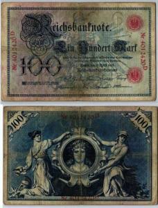 100 Mark Reichsbanknote Deutsches Reich 17.April 1903 (125500)