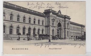 93490 AK Magdeburg - Haupt-Bahnhof, Außenansicht davor Kutschen 1908