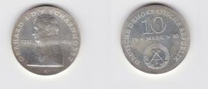 DDR Gedenk Silber Münze 10 Mark Gerhard J.D. v. Scharnhorst 1980 Stgl. (123583)
