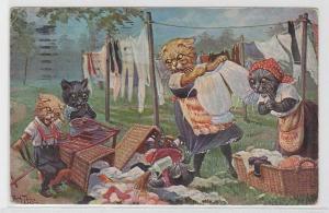 87290 Arthur Thiele Künstler Ak Katzen hängen Wäsche auf 1924
