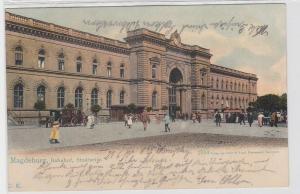 93616 AK Magdeburg - Bahnhof, Stadtseite davor Kutschen 1908