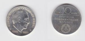 DDR Gedenk Münze 10 Mark Georg Wilhelm Friedrich Hegel Silber Stgl. (123199)