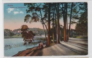 93121 AK Stettin - Partien am Glambecksee, spazierendes Paar am Ufer 1920
