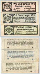 10, 25 & 50 Pfennig Banknoten Stadt Lingen 1920 (120361)
