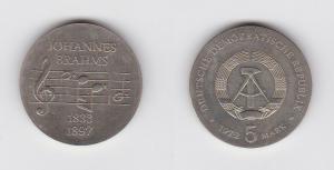 DDR Gedenk Münze 5 Mark Johannes Brahms 1972 Stempelglanz (126772)