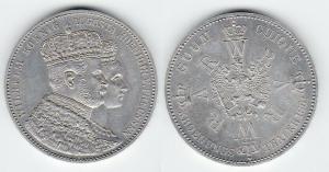 Schöne Silber Münze 1 Krönungstaler Preussen 1861 vz (116800)