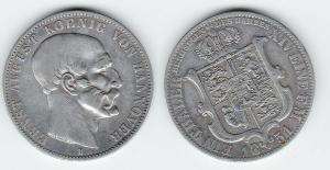 1 Ausbeutetaler 1 Feine Mark Silber Münze Hannover Ernst August 1851 B (119125)