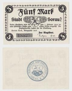 5 Mark Banknote Notgeld Stadt Sorau N.L. Żary 1918 (115977)