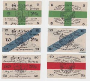 5, 10 & 50 Pfennig Banknoten Notgeld Nordseebad Borkum 1920 (132413)