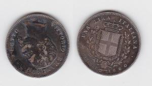 1 Lire Silber Münze Italien 1860 provisorische Regierung Firenze (122503)