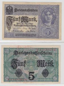 5 Mark Darlehnskassenschein Deutsches Reich 1.8.1917 Rosenberg 54 (125986)