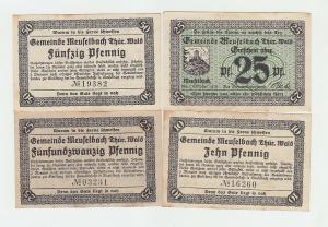 4 Banknote Notgeld Gemeinde Meuselbach Thüringen 1920 (102347)