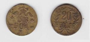 20 Heller Messing Münze Deutsch Ostafrika DOA 1916 J.727 b  (119491)