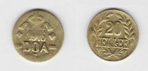 20 Heller Messing Münze Deutsch Ostafrika DOA 1916 J.726 b  (117469)