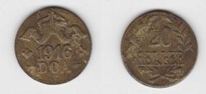 20 Heller Messing Münze Deutsch Ostafrika DOA 1916 J.724 b  (119317)