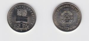 DDR Gedenk Münze 5 Mark 750 Jahre Berlin Alexanderplatz 1987 (126941)