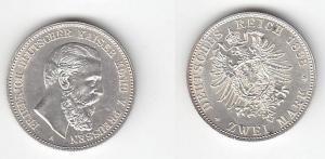 2 Mark Silber Münze Preussen Kaiser Friedrich 1888 (114467)