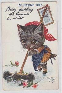 37125 Arthur Thiele Künstler Ak Katze kehrt ungeschickt mit Besen 1915