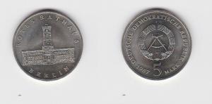DDR Gedenk Münze 5 Mark Berlin Rotes Rathaus 1987 Stempelglanz (121194)
