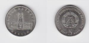 DDR Gedenk Münze 5 Mark Berlin Rotes Rathaus 1987 Stempelglanz (121594)
