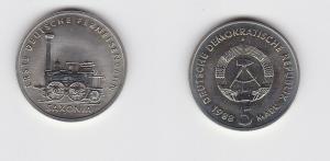 DDR Gedenk Münze 5 Mark erste deutsche Ferneisenbahn Saxonia 1988 Stgl. (129344)