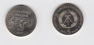 DDR Gedenk Münze 5 Mark Johannes Brahms 1972 Stempelglanz (122315)