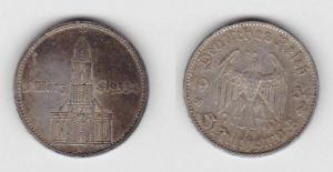 5 Mark Silber Münze 3. Reich Garnisonkirche 1934 D (114787)