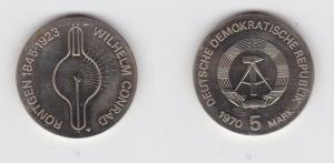 DDR Gedenk Münze 5 Mark Wilhelm Conrad Röntgen 1970 Stempelglanz (129111)