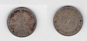 2 Mark Silber Münze 3. Reich Garnisonkirche mit Datum 1934 A Jäger 355 (119652)