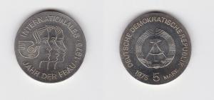 DDR Gedenk Münze 5 Mark Internationales Jahr der Frau 1975 Stempelglanz (128760)