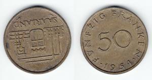 50 Franken Messing Münze Saarland 1954 vz (120867)