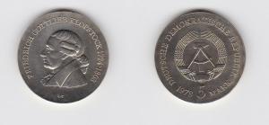 DDR Gedenk Münze 5 Mark Friedrich Gottlieb Klopstock 1988 Stempelglanz (128269)