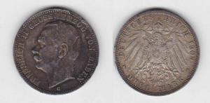 3 Mark Silbermünze Baden Großherzog Friedrich II 1909 Jäger 39  (116442)