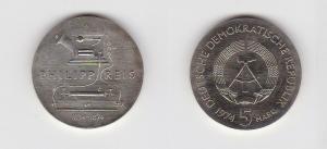 DDR Gedenk Münze 5 Mark Philipp Reis 1974 Stempelglanz (125857)