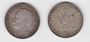 3 Mark Silbermünze Baden Großherzog Friedrich II 1912 Jäger 39  (112010)