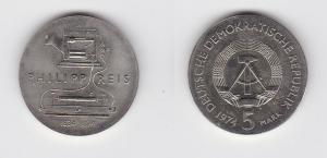 DDR Gedenk Münze 5 Mark Philipp Reis 1974 Stempelglanz (125291)