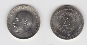 DDR Gedenk Münze 5 Mark Robert Koch 1968 Stempelglanz (129371)