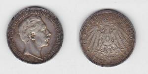3 Mark Silbermünze Preussen Kaiser Wilhelm II 1910 Jäger 103  (111140)