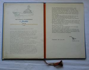 DDR Urkundenmappe mit Dokument Marine 1. Flottille Peenemünde 1981 (105526)