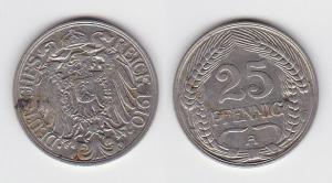 25 Pfennig Nickel Münze Kaiserreich 1910 A (125119)