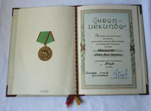 DDR Urkunde Medaille für Treue Dienste in Bronze Nationale Volksarmee (107736)